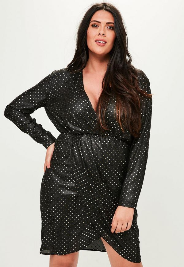 curve-black-spotted-wrap-dress