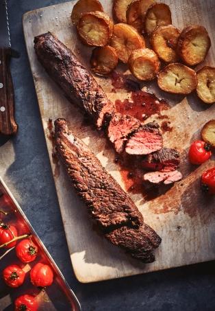 POWERHOUSE TEST - hanger steak cooked